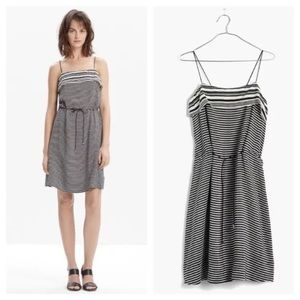 Madewell Silk Striped Tie Waist Dress